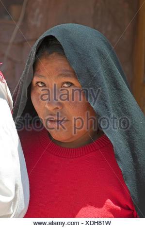 portrait of an Indian woman, Peru, Taquile Island, Lake Titicaca - Stock Photo