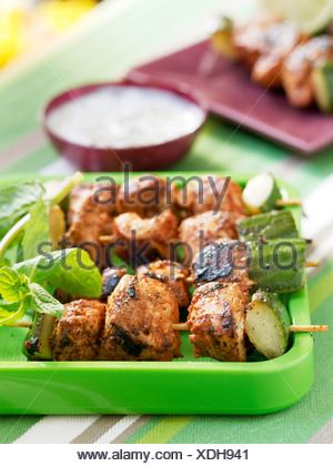 Chicken tandoori  brochettes - Stock Photo