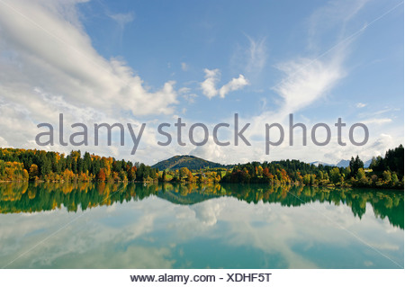 Forggensee lake in front of the Zwieselberg mountain, 1055 m, near Rosshaupten, Bavarian Swabia, Bavaria, Germany Europe - Stock Photo