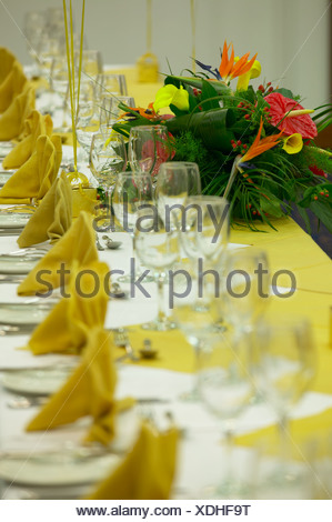 large banquet suite ready for a wedding feast - Stock Photo
