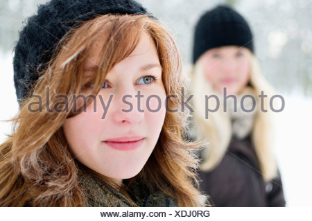Two women in winter - Stock Photo