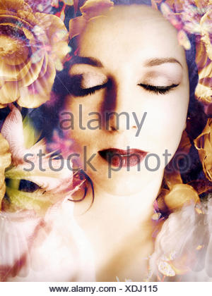 poetic montage of a portrait with flowers, - Stock Photo