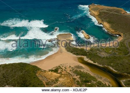 Great Ocean Road, helicopter flight over the cliffs and coastal landscape next to the Twelve Apostles, Southern Ocean, Victoria - Stock Photo