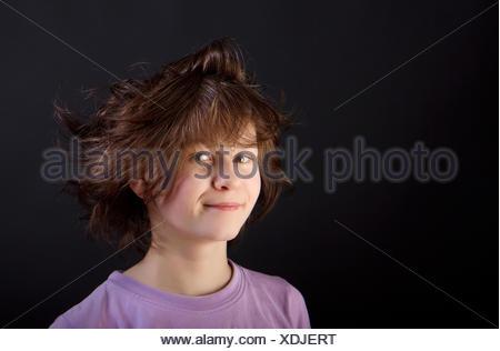 tousled fun girl child - Stock Photo