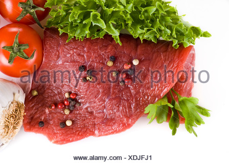 Raw beef frying steak with vegetables isolated over white background - Stock Photo