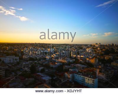 Aerial view of El Vedado neighborhood in Havana. - Stock Photo