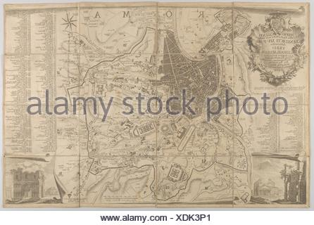 Plan of ancient Rome with a view of the Pantheon lower left and a triumphal arch lower right. Artist: Carlo Nolli (Italian, Como 1724-after 1770 - Stock Photo