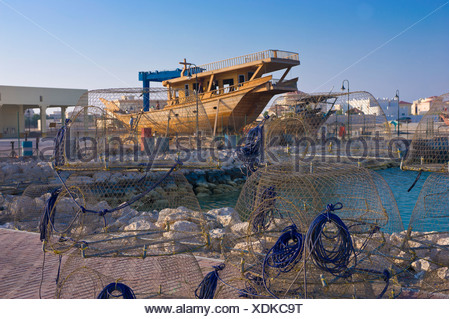 Dhow in the port of Khor, Qatar, Arabian Peninsula, Middle East - Stock Photo