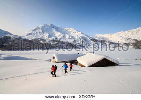 Hikers on snowshoes enjoy walking in the snow near the huts of Spluga above Maloja Pass. Canton of Graubunden. Engadine. Switzerland. Europe - Stock Photo