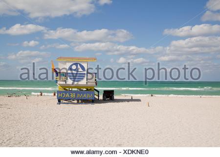 Lifeguard hut, 'Miami Beach' written on it, South Beach, Miami, Florida, USA - Stock Photo