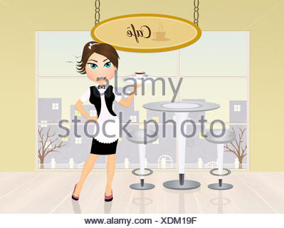 girl serving cafè - Stock Photo
