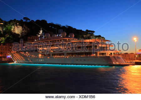Motor yacht 'Katara', 124.4m, built in 2010 by Luerrsen Yachts, owned by the Emir of Qatar, in the evening, port of Nice - Stock Photo