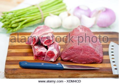 raw beef and pork ribs - Stock Photo