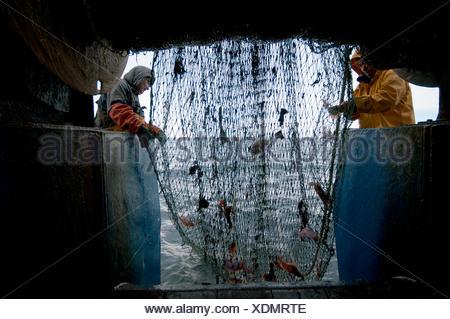 Fishermen hauling back trawler net on fishing trawler. Stellwagen Banks New England United States North Atlantic Ocean - Stock Photo