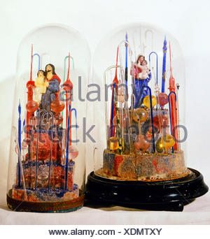 fine arts, folk art, devotional thing, Madonna and Saint Joseph with child under glass covers, glass, wax, Bavaria / Bohemia, early 19th century, Berchtesgaden, Rupert Stoeckl collection, Munich, Artist's Copyright has not to be cleared - Stock Photo