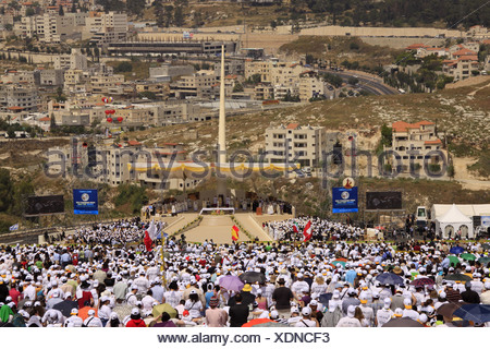 Israel, Nazareth, Israel, Galilee, the Pontifical Mass celebrated by His Holiness Pope Benedict XVI  on the Mount of the - Stock Photo