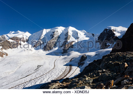 Mt Piz Palu, Vadret Pers Glacier at front, Mt Bellavista on the right, summit of Mt Piz Cambrena on the left, Grisons - Stock Photo