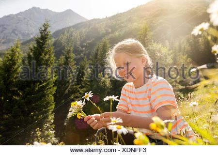 Young girl in field, picking flowers - Stock Photo