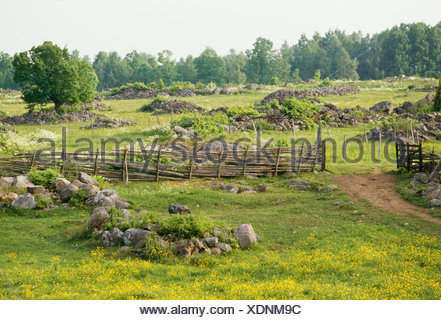 Mound of stones and pastureland, Smaland, Sweden. - Stock Photo
