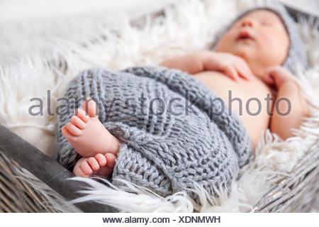 Beautiful newborn inside a basket - Stock Photo