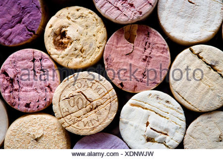 close up shot of assorted wine corks - Stock Photo