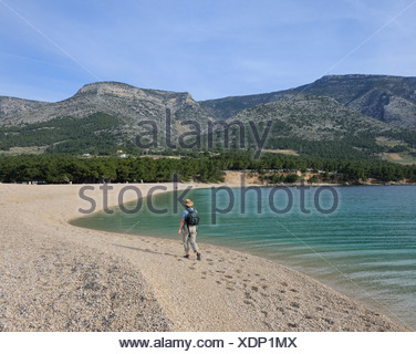 Beach, Zlatni Rat, Golden Horn, Bol, Brac Island, Croatia, Europe - Stock Photo