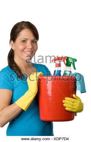 woman with bucket cleaning agent - Stock Photo