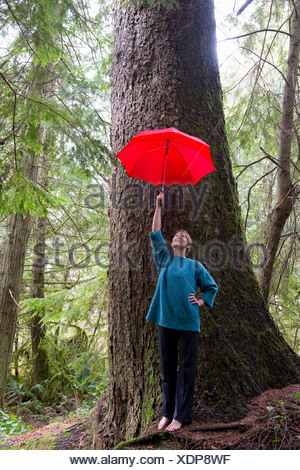 Mature woman holding red umbrella in forest - Stock Photo