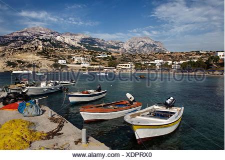 Lefkos fishing port, island of Karpathos, Aegean Islands, Dodecanese, Aegean Sea, Greece, Europe - Stock Photo