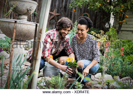 A couple in the garden planting flowers. - Stock Photo