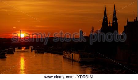 Regensburg Sonnenuntergang - Stock Photo