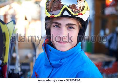 Boy on skiing holiday - Stock Photo