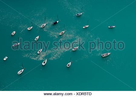 Ships on Lake Woerth, aerial photo, Carinthia, Austria, Europe - Stock Photo