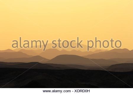 Sunset over mountains, coast Gahlib, Egypt - Stock Photo