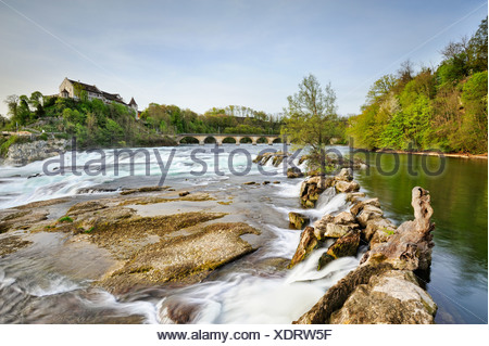 View from the upper part of the Rhine Falls in Schaffhausen at low tide, Canton Schaffhausen, Switzerland, Europe - Stock Photo