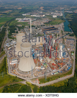 Aerial view, hard coal-fired power station, Kraftwerk Westfalen power plant, RWE Power, Uentrop, Ruhr area