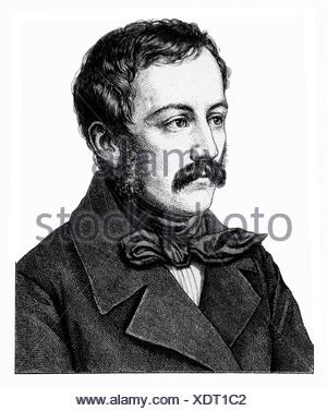 Lenau, Nikolaus, 15.8.1802 - 22.8.1850, Austrian author/writer, ptrait, steel engraving, 19th century, , Artist's Copyright has not to be cleared - Stock Photo