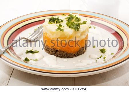 haggis, a very scottish dish, with mashed potato, turnips and parsley on a plate. - Stock Photo