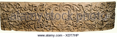 Two carved panels, Portugal(?), 18th century. Oak with high carved leafy and flowery vines. There is a cartouche in the centre with an orb, framed by two curved arches, the inside also bears somewhat flatter vine carvings with poppy heads or pomegranates. Minor damage and nicks. 56 x 220 cm and 56 x 130 cm. This would appear to be pieces of sheathing from a Portuguese sailing ship of the 18th century. Very interesting maritime object. fine arts, 18th century, object, objects, stills, clipping, clippings, cut out, cut-out, cut-outs, fine arts, art, art, Artist's Copyright has not to be cleared - Stock Photo