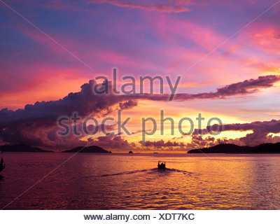 Malaysia, Borneo, Kota Kinabalu, South China Sea at dusk - Stock Photo