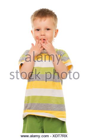 Little boy in striped t-shirt - Stock Photo