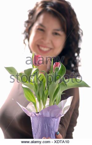 Young girl w/Flower, Regina, Saskatchewan - Stock Photo