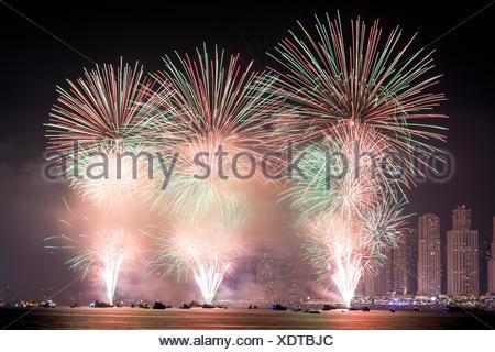 Tha 45th UAE National Day celebration fireworks in Dubai Marina. United Arab Emirates, Middle East - Stock Photo