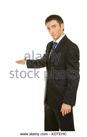 Businessman with arm out in a welcoming gesture - Stock Photo