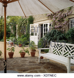 White bench on stone paved patio below large white umbrella in front of country house with pink climbing roses on the wall - Stock Photo