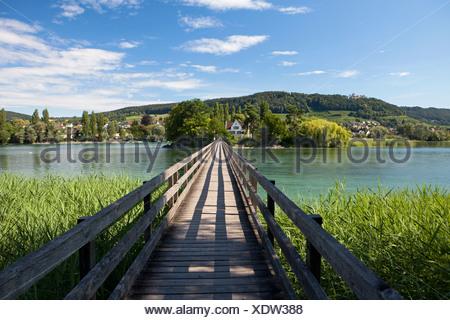 Footbridge to Werd island near Stein am Rhein, Lake Constance, Switzerland, Europe, PublicGround - Stock Photo
