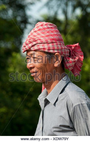 Khmer man wearing a kroma, a traditional headcloth, Battambang, Cambodia, Southeast Asia, Asia - Stock Photo