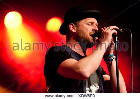 Bart van der Weide, singer of the Dutch band Racoon, performing live in the Schueuer concert hall, Lucerne, Switzerland, Europe - Stock Photo