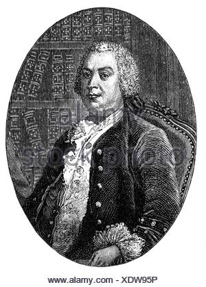 Gottsched, Johann Christoph, 2.2.1700 - 12.12.1766, German poet, scholar, half length, oval, wood engraving, 19th century, , - Stock Photo