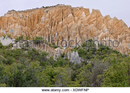 Clay Cliffs near Omarama, Highway 8, South Island, New Zealand - Stock Photo